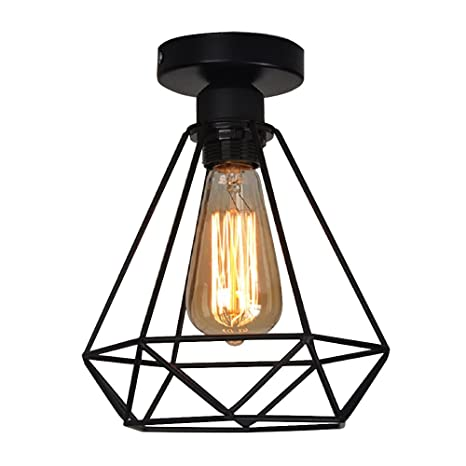 Lampara del Techo Vintage Hierro, Iluminación de techo,Lámparas E27 de diamante para Casa, Habitacion, Dormitorio