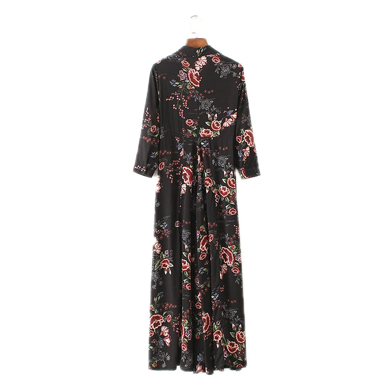 ... de moda primavera longo vestido de flores impressão das mulheres vestido maxi floral longo estilo vestidos bohe vestidos bonitos vestido: Clothing