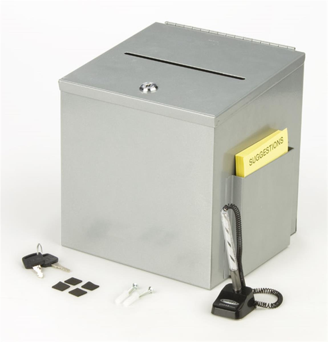 Metal Suggestion Box, Donation Box with Locking Door and Side Pocket, for Tabletop or Wall - Silver