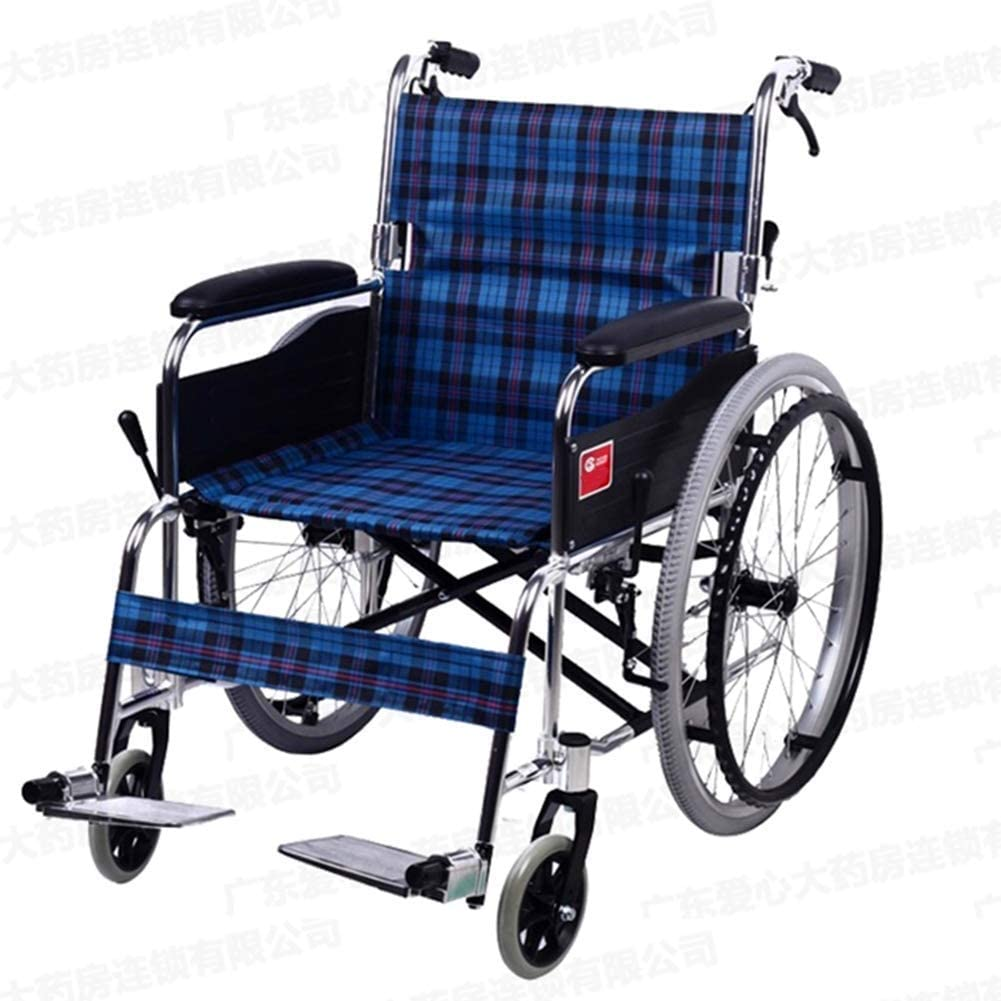 GBX@I Silla de ruedas plegable ligera, manejo médico, silla de ruedas manual, discapacitados mayores, andador, silla de ruedas de aleación de aluminio Vagón