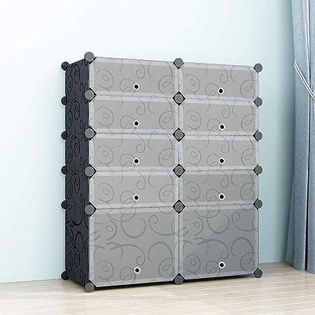 SIMPDIY Zapatero Cubos, 2x5 Cubos Almacenamiento zapateros Modular, Unidad Gran Capacidad de organizadores Zapatos con Door, Shoes Cubo Almacenamiento Botas en la Entrada la Sala Estar (93x37x108cm): Amazon.es: Juguetes y juegos