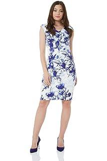 9ccf972c3490 Roman Originals Women Floral Print V-Neck Dress - Ladies Sleeveless Knee  Length Occasion…