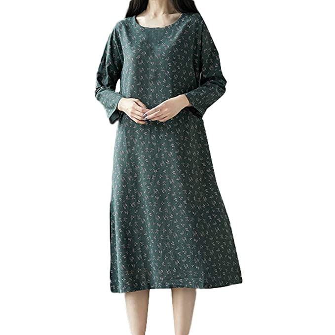 Women Dresses Godathe Women Plue Size Long Sleeve Patchwork Cotton Linen Loose Print Bohe Dress M