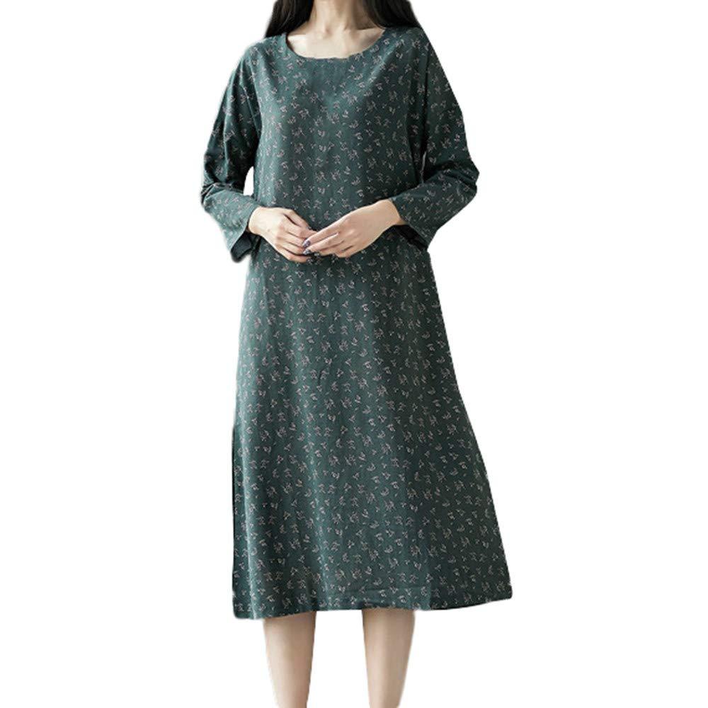 AMSKY White Dress Shirts for Men,Women Plue Size Long Sleeve Patchwork Cotton Linen Loose Print Bohe Dress,Socks & Hosiery,Green,M