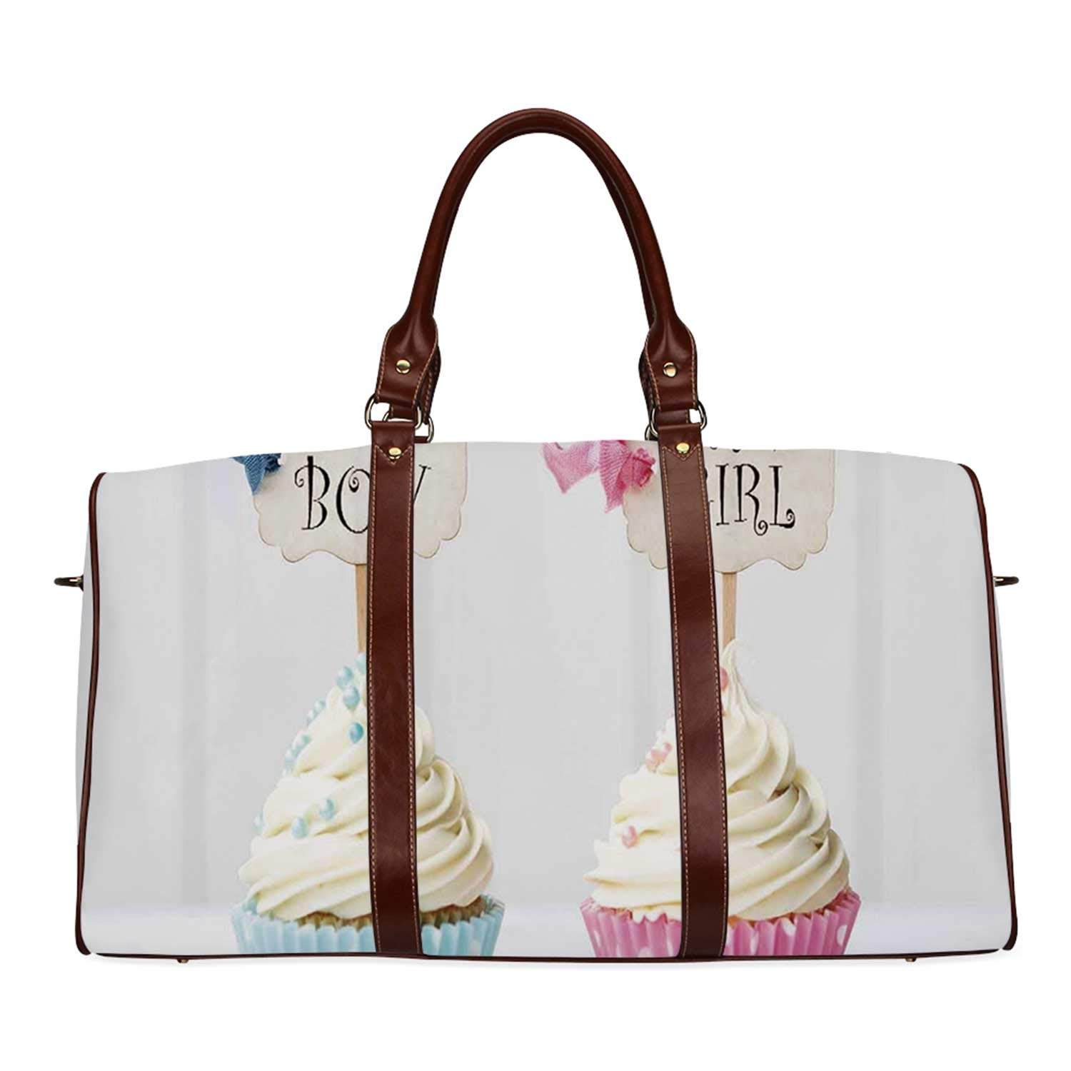 Gender Reveal Personal Travel Bag,Boy and Girl with Cupcakes Yummy Chocolate Celebration Theme for Market,18.62''L x 8.5''W x 9.65''H by YOLIYANA