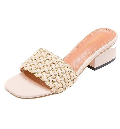 Yoocang Mujer Verano de Moda Mocasines Zapatos De tacón bajo Sandalias Antideslizante Zapatillas (Beige,