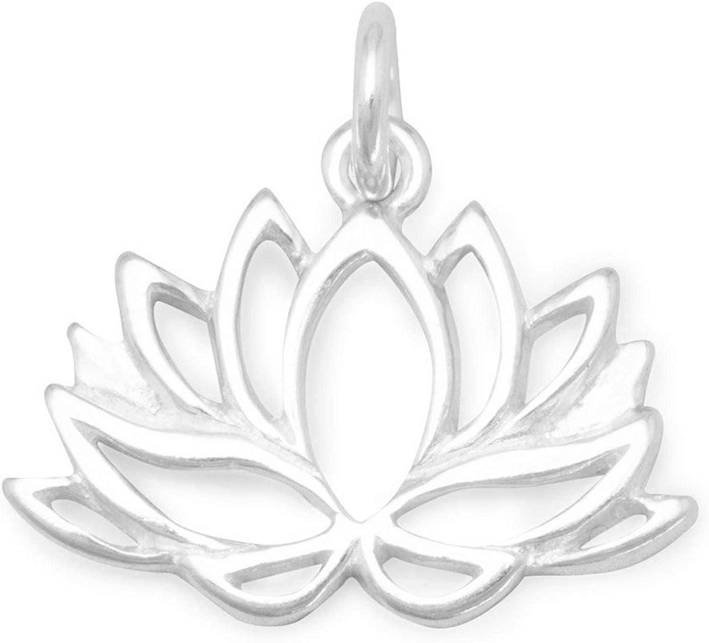 Argent sterling poli 13,5/mm x 18/mm D/écoupe Fleur de Lotus Charm