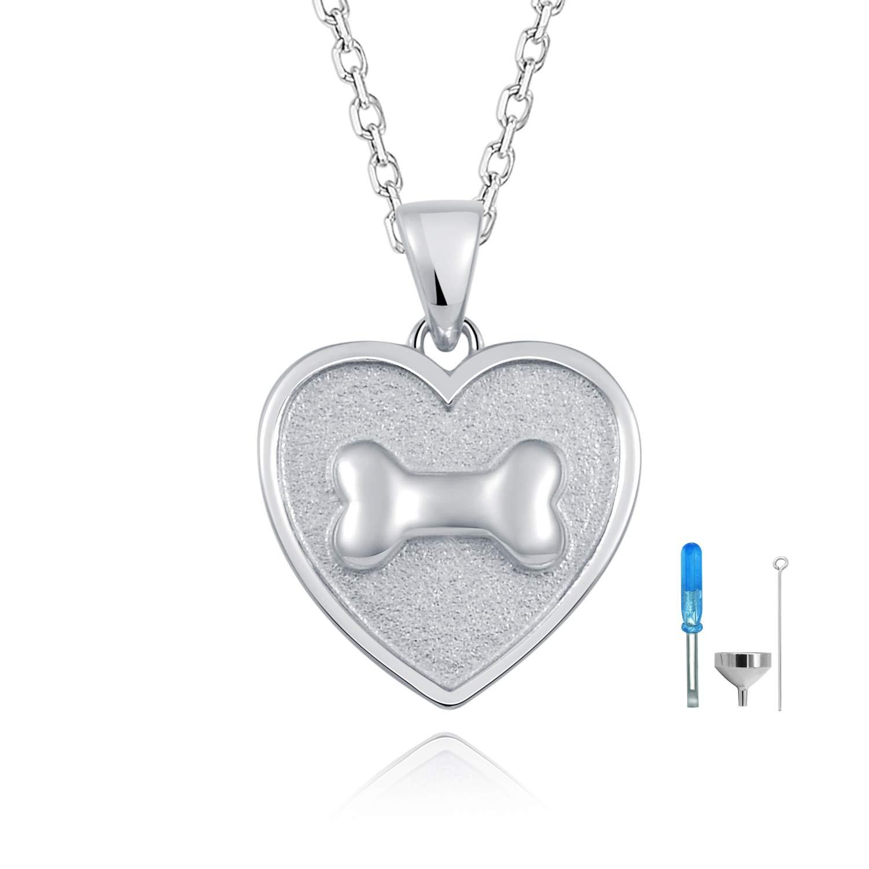 ACJFA Memorial Heart Loves Cremation Urn Necklace 925 Sterling Silver Pet Bone Ashes Pendant Keepsake Jewelry