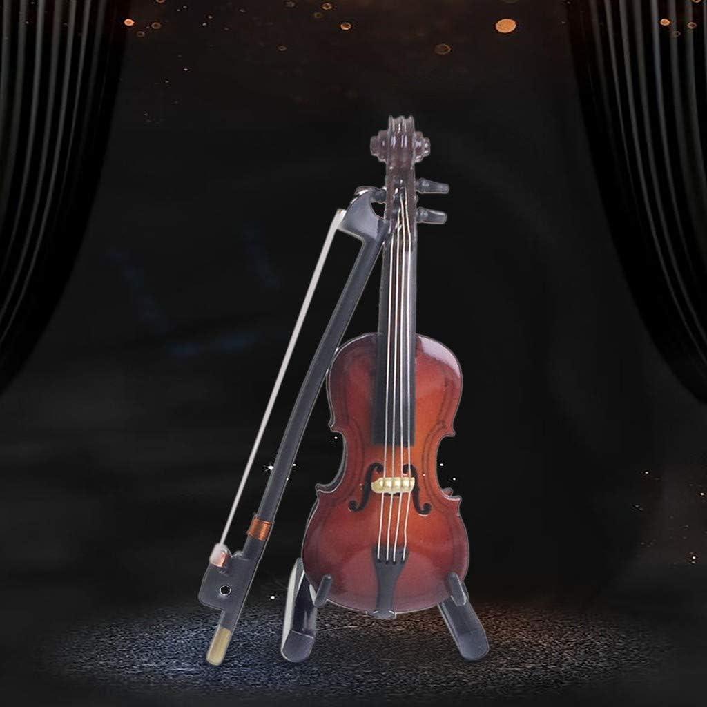 1//12 Mini instrument de musique Violon en bois avec casque pour maison de