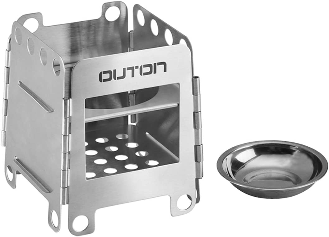 OUTON Portable Camping Wood Stove Folding Lightweight Stainless Steel Alcohol Stove Outdoor Cooking Backpacking Stove