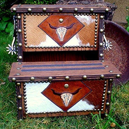 (Clever Stirrup Design With Leather Longhorn Skull Accents Step Stool)