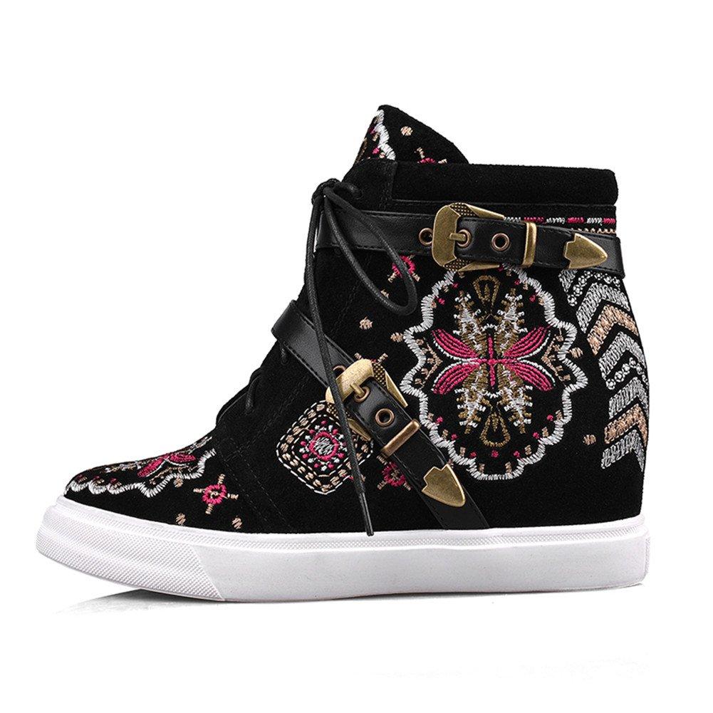 Compensées Baskets Chaussures Cuir Broderie Roseg Femmes Lacets Coin dBCxroeW