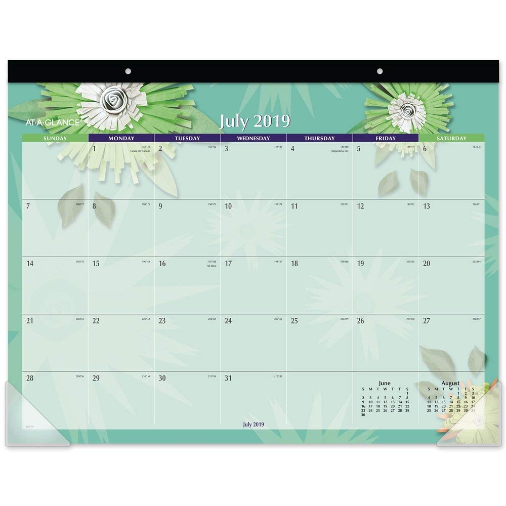 AT-A-GLANCE 2019-2020 Academic Year Monthly Desk Pad Calendar, Standard, 21-3/4'' x 17'', Paper Flowers (5035)