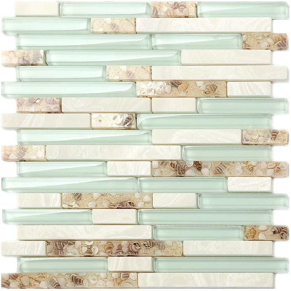 - Beach Style Glass Tile Mother Of Pearl Shell Resin Kitchen