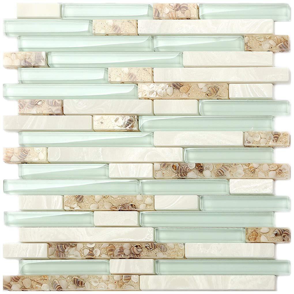 Beach Style Glass Tile Mother Of Pearl Shell Resin Kitchen Backsplash Green Lake White Stone Interlocking Art Tile Tstmgt084 11 Pcs 12 X