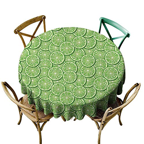 Jbgzzm Round Tablecloth Food Decor Bunch of Sliced Limes Background Yummy Fruit Fresh Tropical Vitamin Picture Washable Tablecloth D47 Fern Green