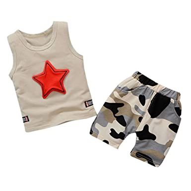 71b94be22c30b Bellelove For 1-4 Years Baby Clothes,Toddler Kids Baby Boys Sleeveless Star  Vest Shirt+Camouflage Short Outfits Clothes Set: Amazon.co.uk: Clothing