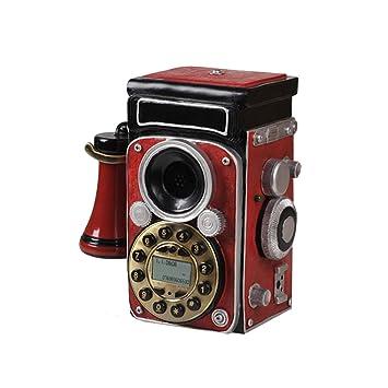 AJZGF Teléfono Rojo Cámara Eco Resina Vintage Cable Botón ...