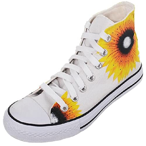 3fedf10813fa YFINE Chinese Style Yellow Sunflowers Hand-painted Graffiti Women s Canvas  Shoes High Top Ladys Womens