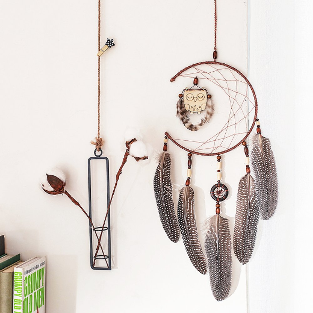 Handmade Dream Catcher For Kids Indian Wall Hanging Home and Garden Decor Ornament Craft (Brown)