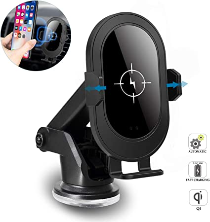 Car Phone Holder, Wireless Car Charger Mount with Auto Clamping, 10W Qi Fast Charging, Windshield Dash Air Vent Smartphone Holder for iPhone 11 11 Pro 11 Pro Max Xs MAX XS XR X 8 8 ,Samsung S10 S10 S