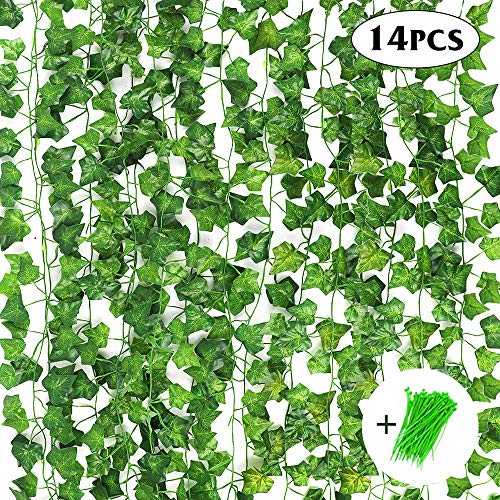Fake Ivy Leaves (CEWOR 14 Pack 98 Feet Fake Ivy Leaves Artificial Ivy Leaves Greenery Garlands Hanging Plant Vine with 50 Green Nylon Cable Ties for Wedding Party Garden Wall)
