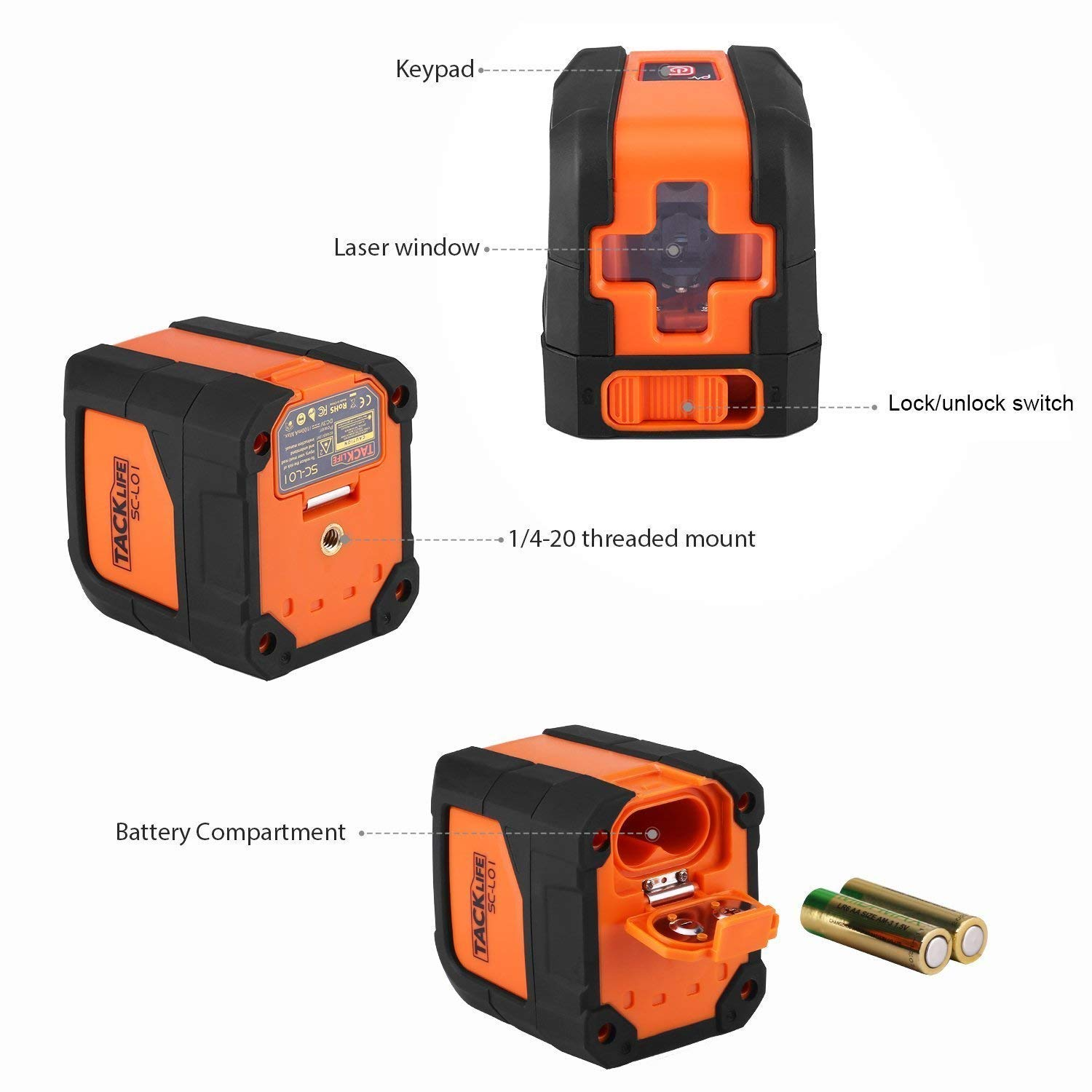 Tacklife SC-L01-50 Feet Laser Level Self-Leveling Horizontal and Vertical Cross-Line Laser - Magnetic Mount Base and Carrying Pouch, Battery Included by TACKLIFE (Image #3)