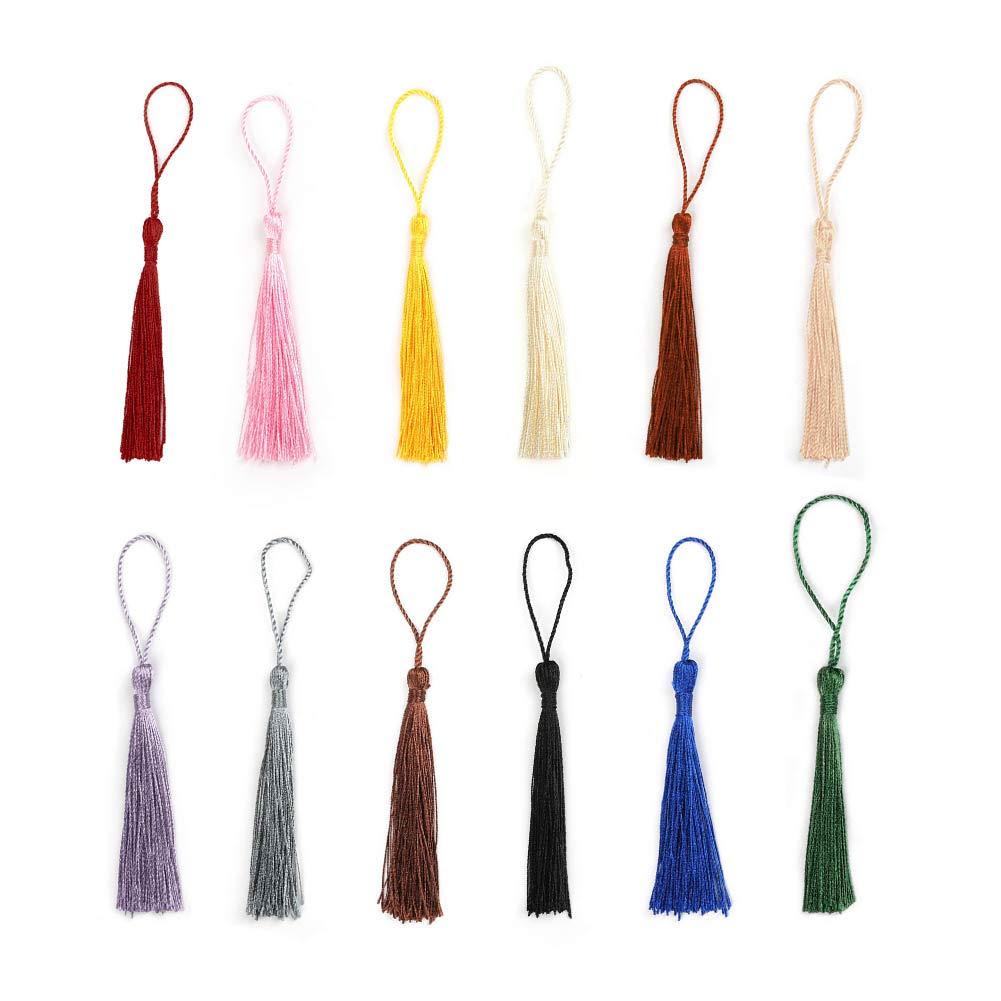 accesorios de manualidades 12 colores marcadores proyectos de bricolaje 120 borlas de 13 cm hechas a mano de seda con lazos de cord/ón de 5 cm multicolor para hacer joyas 10 unidades de cada uno