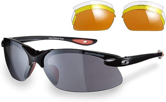 TALLA Black Frame Orange Inside. Sunwise Windrush - Gafas de sol deportivas para hombre, adecuadas para actividades deportivas y fines de arrendamiento, resistentes al agua y a los impactos, con lente envolvente, talla única