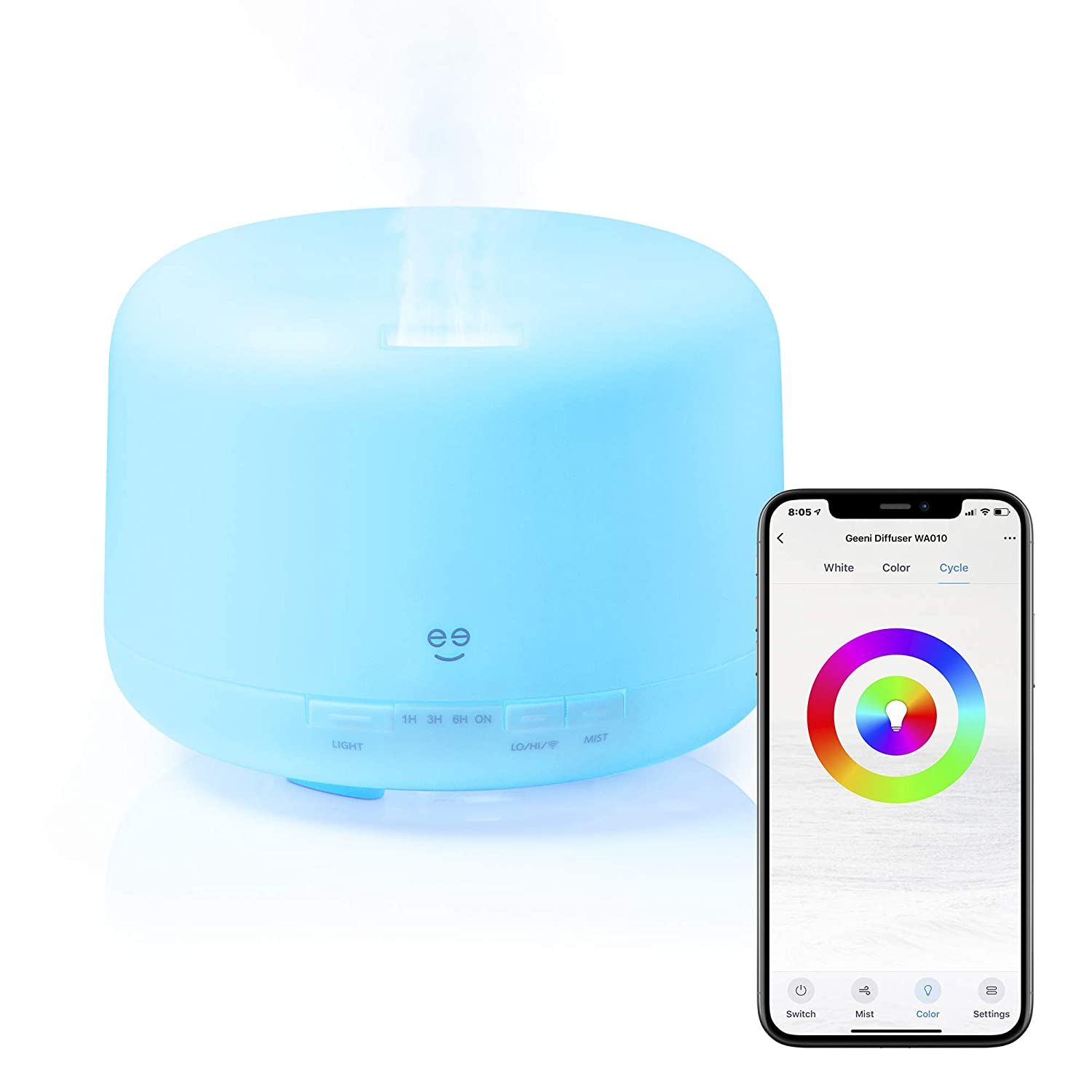 Smart Wifi Wireless Essential Oil Aromatherapy 500ml Ultrasonic Diffuser & Humidifier With Alexa & Google Home Phone App & Voice Control - Create Schedules - LED & Timer Settings- White
