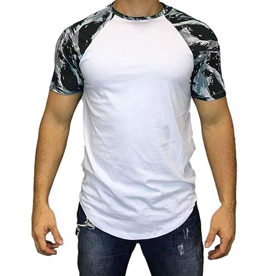 Tops de Verano Camiseta de Manga Corta para Hombre Moda Costura Camuflaje  T-Shirt Cuello Redondo Ocio Diario Algodón Cómodo Transpirables MMUJERY  ... 53edeaa661ccd