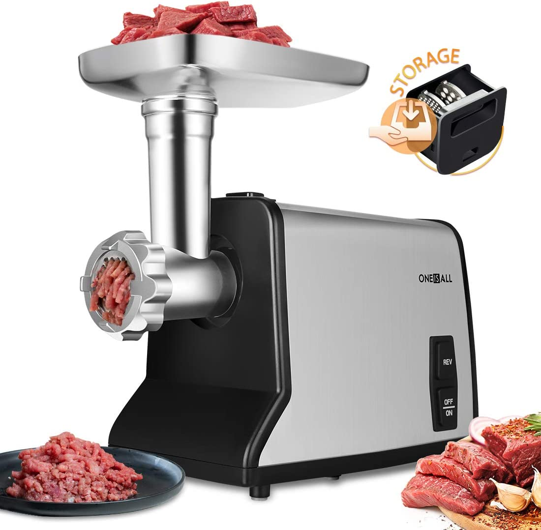 Electric Meat Grinder, ONEISALL Stainless Steel Meat Mincer Sausage Stuffer, 1200W Max Concealed Storage Box Sausage Kubbe Kit Included, 3 Stainless Steel Grinding Plates and 1 Blade