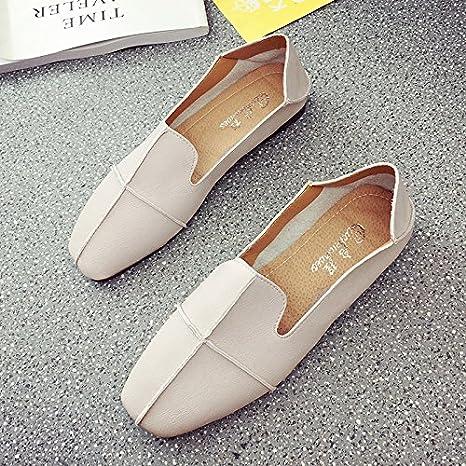 RUGAI-UE Le donne estate retrò scarpe piatte,Thirty-Eight,Beige