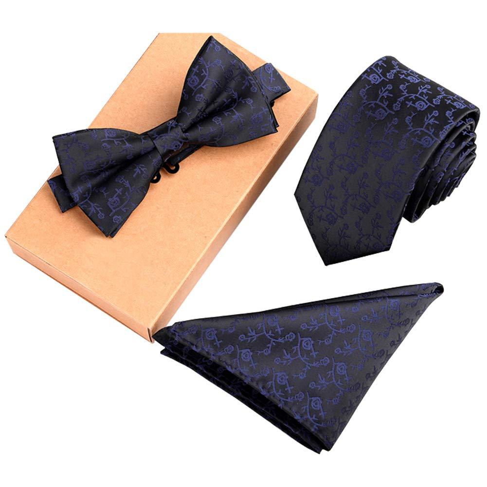 Lanburch Fashionable Premium Formal/Informal Ties Set, Necktie/Bow Tie/Pocket Square for Mens/Boys, Blue Vine