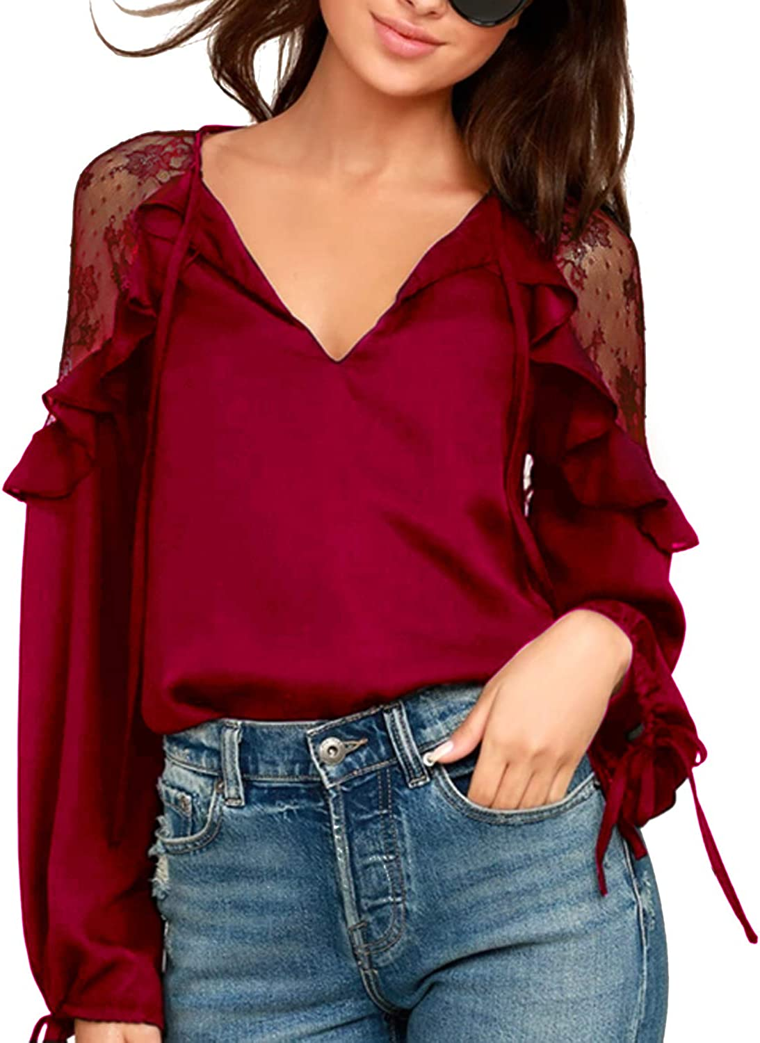 Blooming Jelly Womens Black Lace Top Tie V Neck Long Sleeve Shirt Ruffles Loose Elegant Blouse
