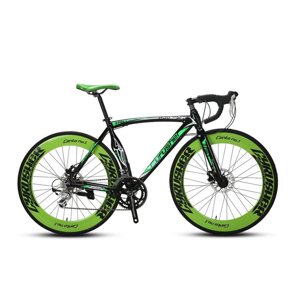 EXCY XC700 自転車 ロードバイク シマノ14段変速 700*28C クロスバイク アルミフレーム ディスクブレーキ B0787PKB5Nグリン