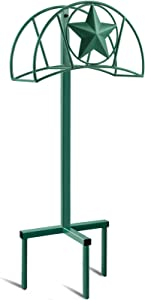 Amagabeli Garden Hose Holder Stand Freestanding Holds 125ft Water Hose Detachable Rustproof Hanger Organizer Storage Metal Heavy Duty Decorative with Ground Stakes for Outside Garden Lawn Yard Green