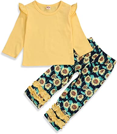 3Pcs Kids Baby Girls Floral Long Sleeve Tops Pants Headband Outfits Set Clothes