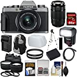 Fujifilm X-T100 Digital Camera & 15-45mm XC OIS PZ (Dark Silver) & 50-230mm Lens + 64GB Card + Battery + Charger + Flash + Backpack + 2 Lens Kit