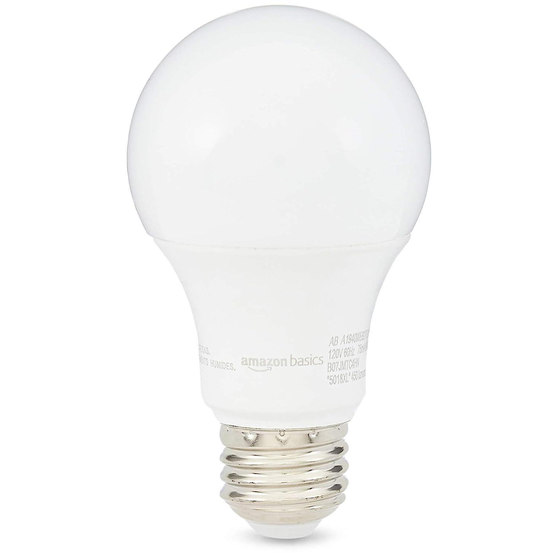 AmazonBasics 40W Equivalent, Soft White, Dimmable, 10,000 Hour Lifetime, A19 LED Light Bulb   6-Pack