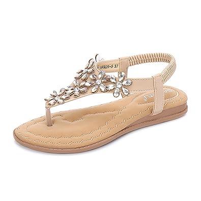 8c4c1d68db0d31 Gracosy Sandales Été Femmes, Chaussures de Ville Plates Tongs Nu Pieds à  Talons Plats Semelles