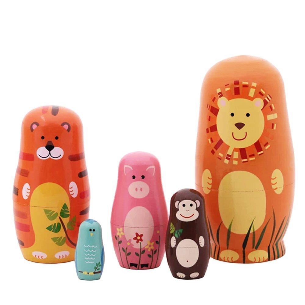 Jollylife 5pcs Nesting Doll Handmade Wooden Cute Cartoon Animals Pattern 6''