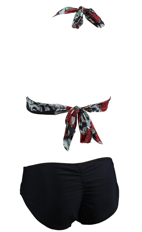 Aloha-Beachwear Damen Vintage Triangel Bikini Set Totenkopf Rose Tattoo  Retro, A70500 Mehrfarbig: Amazon.de: Bekleidung