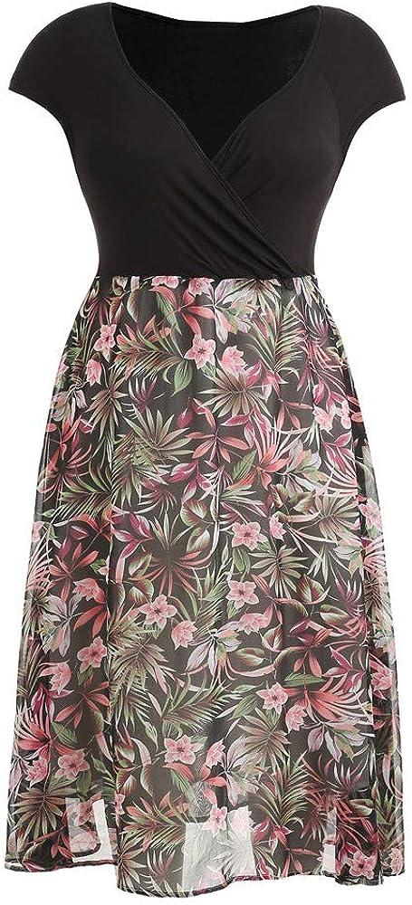 Women Midi Dress,JFLYOU Plus Size High Waist Flower Print Chiffon V-Neck Short Sleeve Dress Jumpsuit