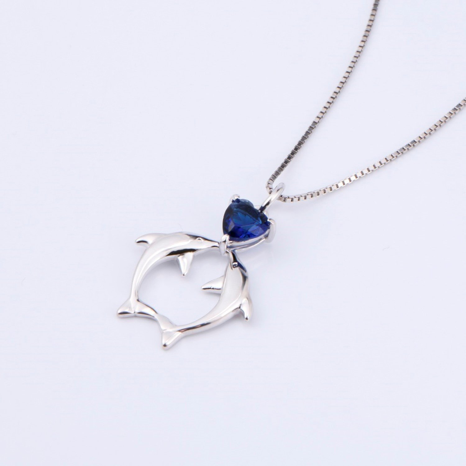 CS-DB Womens Necklaces by Silver Pendant Girls Blue Crystal Dolphins Charm Girls