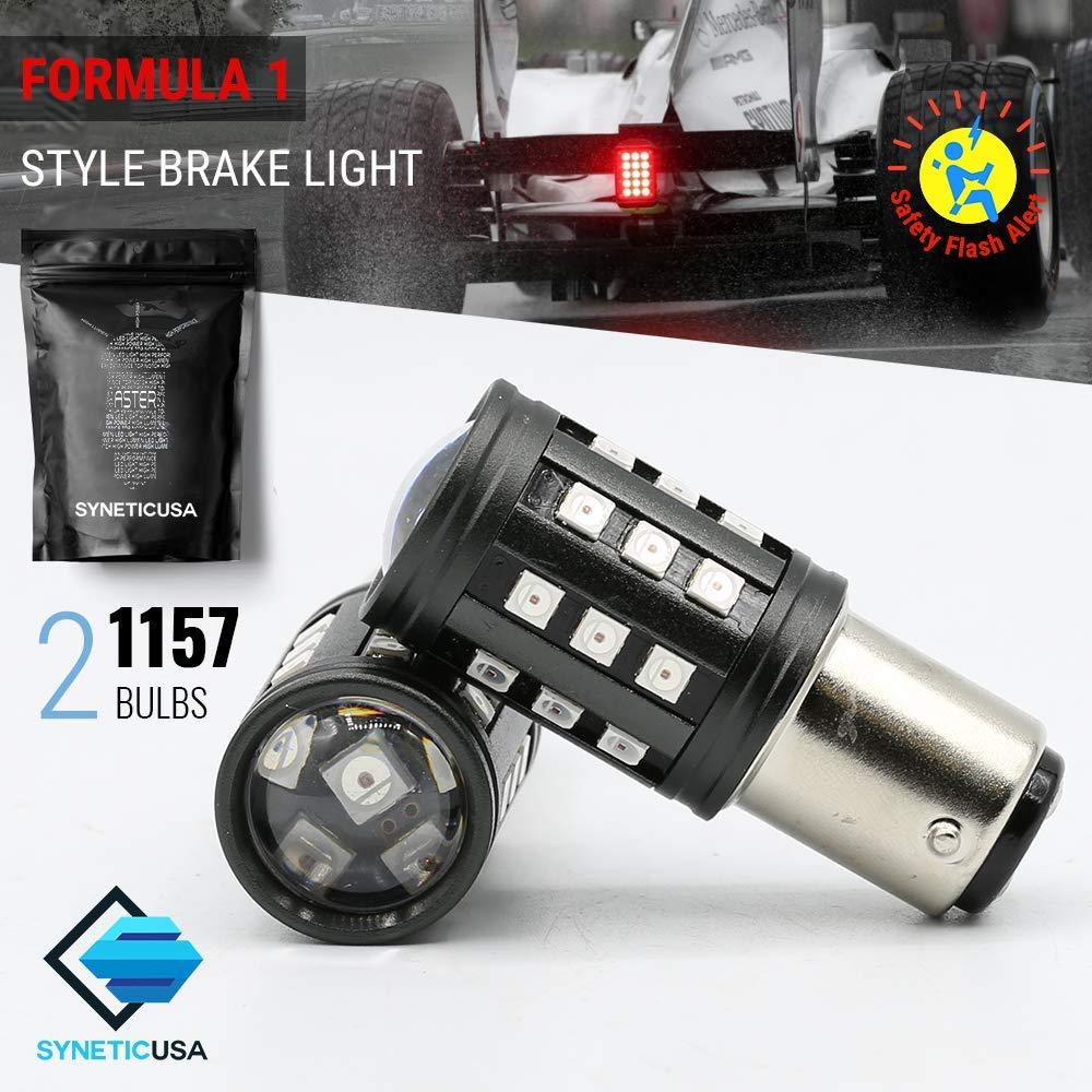 Red Flashing Strobe Blinking Rear Alert Safety Brake Tail Stop High Power LED Light Bulbs (7443) Syneticusa