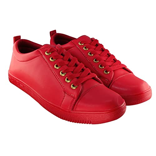 Red Lace-Up Casual Sneakers Shoes