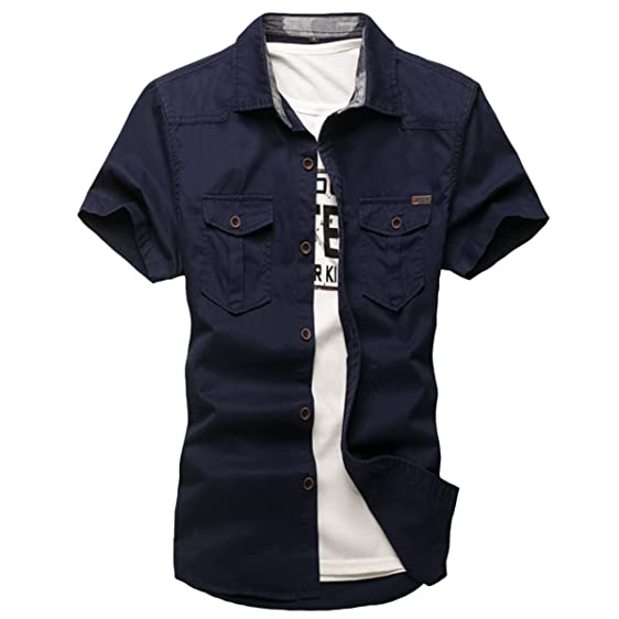 Pishon Men's Short Sleeve Shirt Cotton Flap Pockets Button Up ...