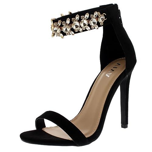 en venta fc9de 5aa52 Viva Mujer Diamante Correa de Tobillo Fiesta Sandalias Noche Tacones Altos  Zapatos