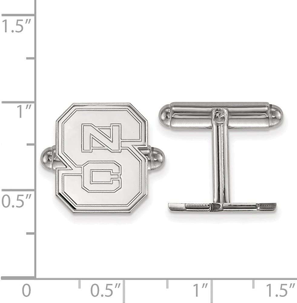 Solid 925 Sterling Silver North Carolina State University Cuff Link 13mm x 15mm